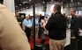 Contractors flock around the FLIR booth in hopes of winning tools during the 2017 AHR Expo in Las Vegas