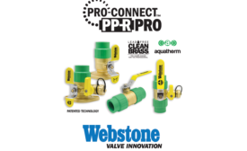 Brass valves with integrated connections from Webstone Valves; piping systems