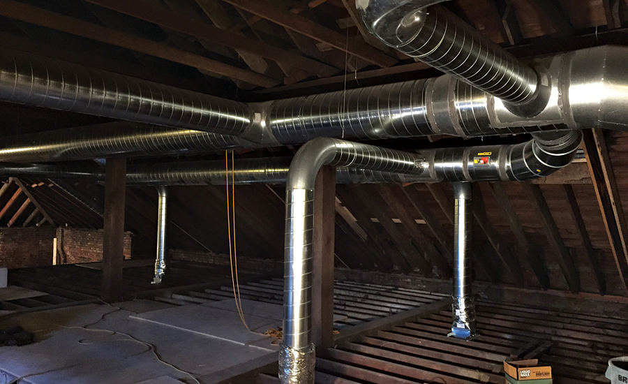 Ductwork of the HVAC system in the attic of the St. Charles post office