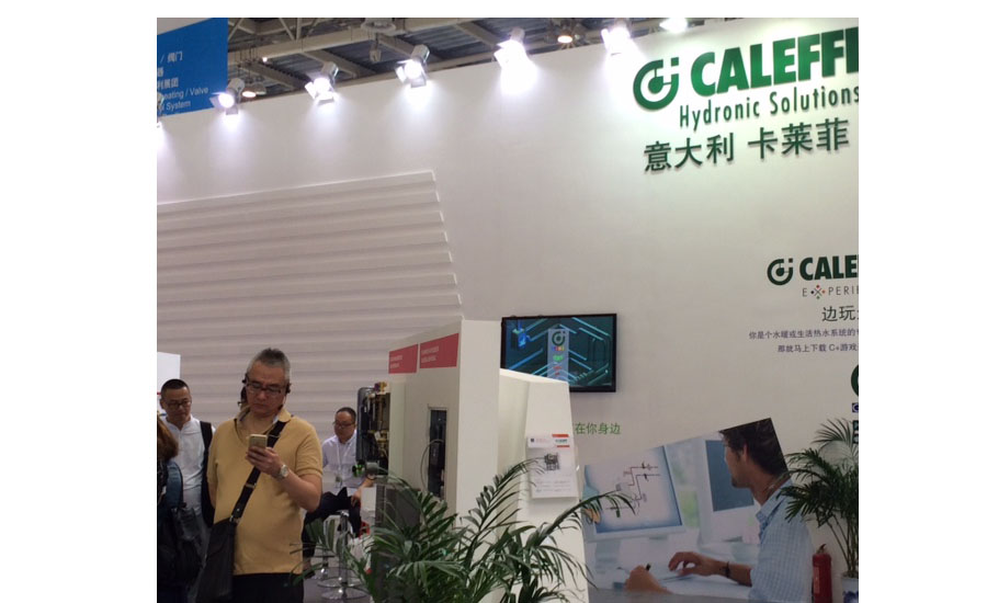 Caleffi welcomes visitors at ISH China/CIHE to its green-themed booth. Photo