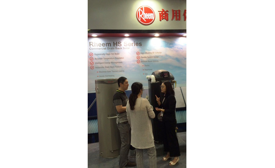 Rheem displays its water-heating products to visitors at ISH China
