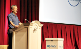 Bill Gray address the audience during the Uponor 2016 Connections event at the Bellagio Hotel in Las Vegas
