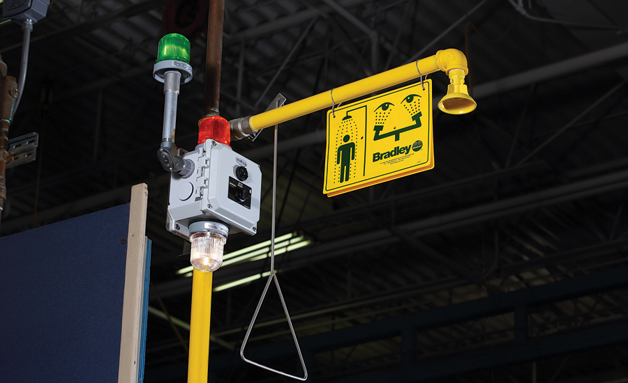 Custom emergency fixture from Bradley Corp.