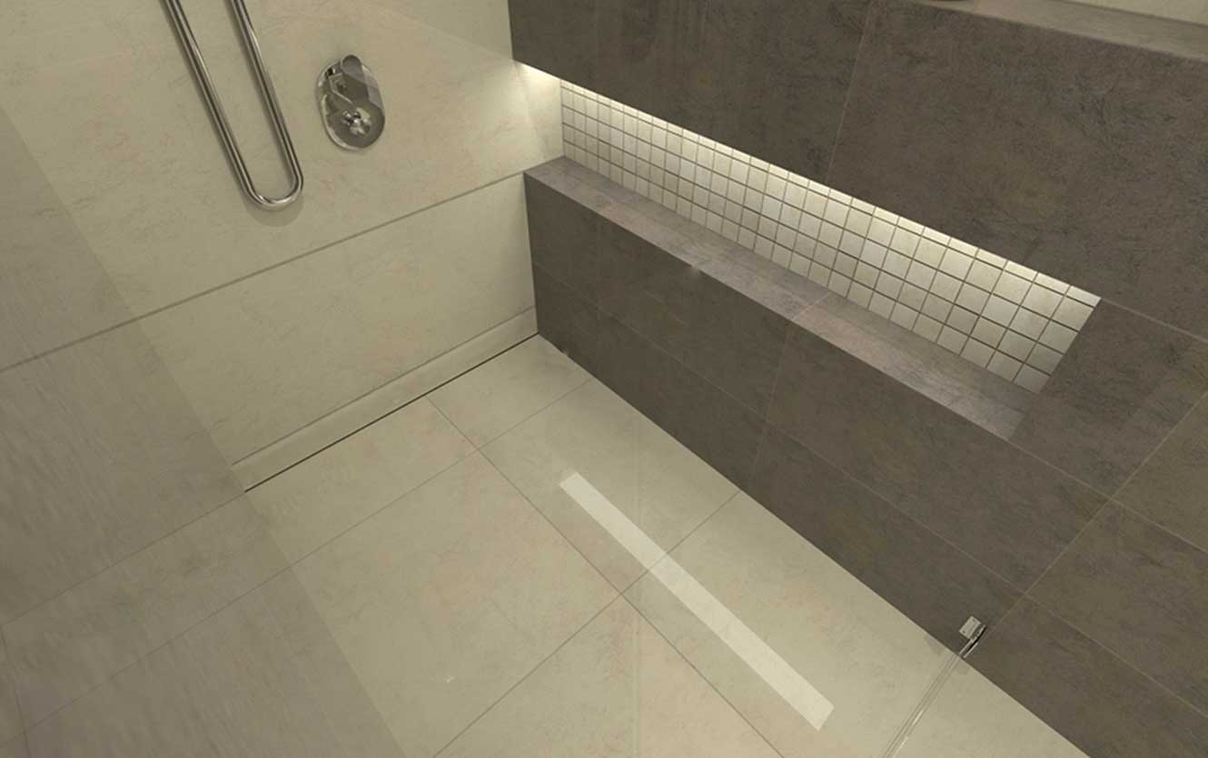 Wall shower drain from Quick Drain