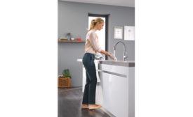 Grohe's LadyLux3 Café kitchen faucet features foot control technology.