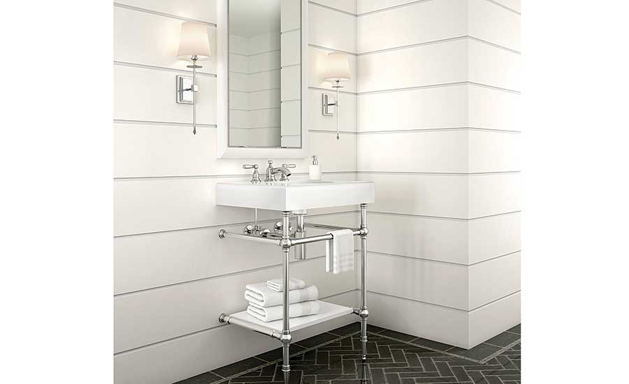 Classic console with modern integrated sink top from MTI Baths