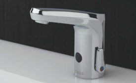 Touch-free faucet with scald protection
