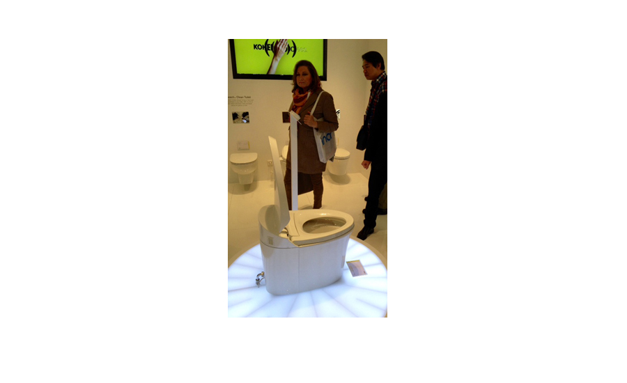 A Kohler Veil toilet demonstration
