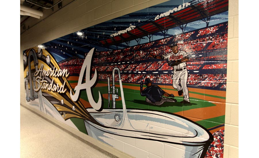The new American Standard branded restrooms in the Atlanta Braves SunTrust Park showcase colorful murals